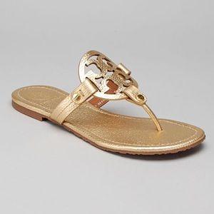 Tory Burch Miller Gold Metallic Logo Sandals 8.5